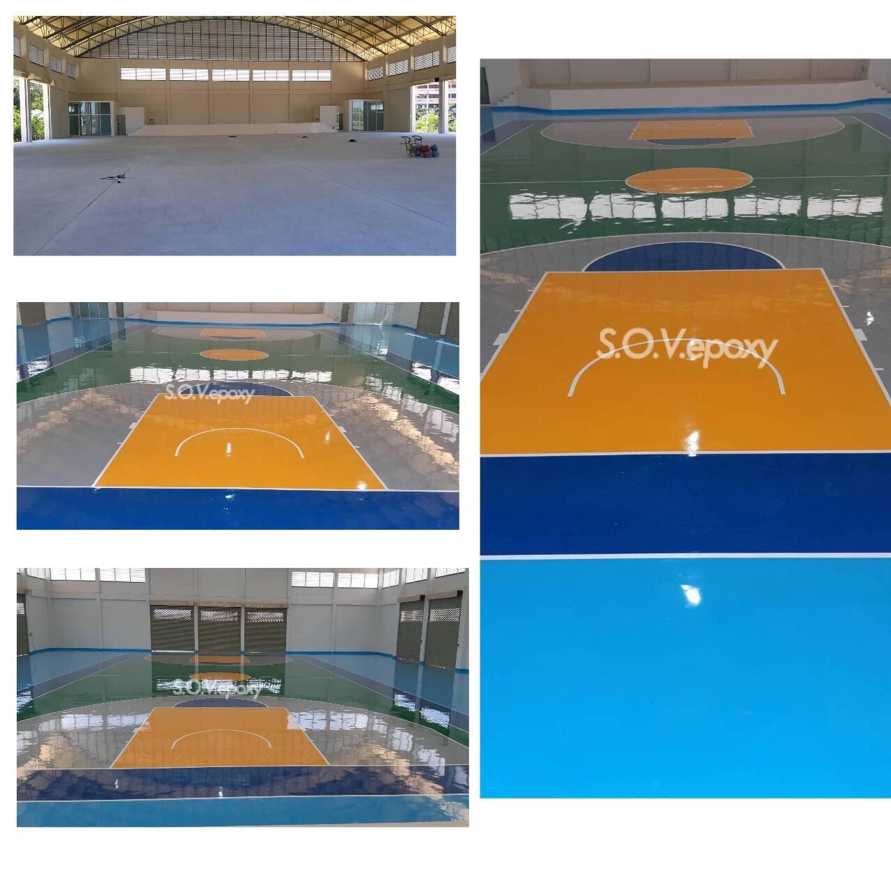 พื้นสนามกีฬา Epoxy (PU) Self-leveling ความหนา 2 มิล
